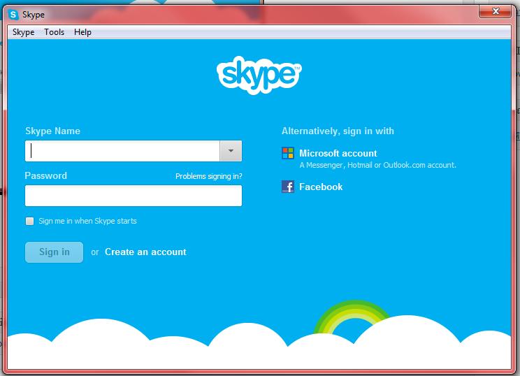 หน้าหลักโปรแกรม skype